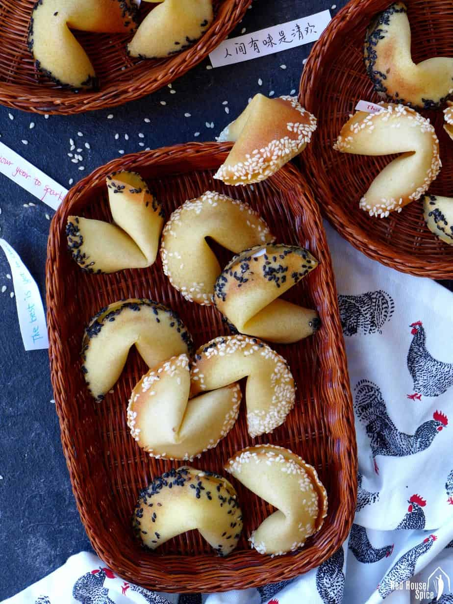 Homemade fortune cookies with sesame rims