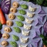 Chinese dumplings made in four colours and shapes