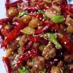 A plate of Szechuan chicken