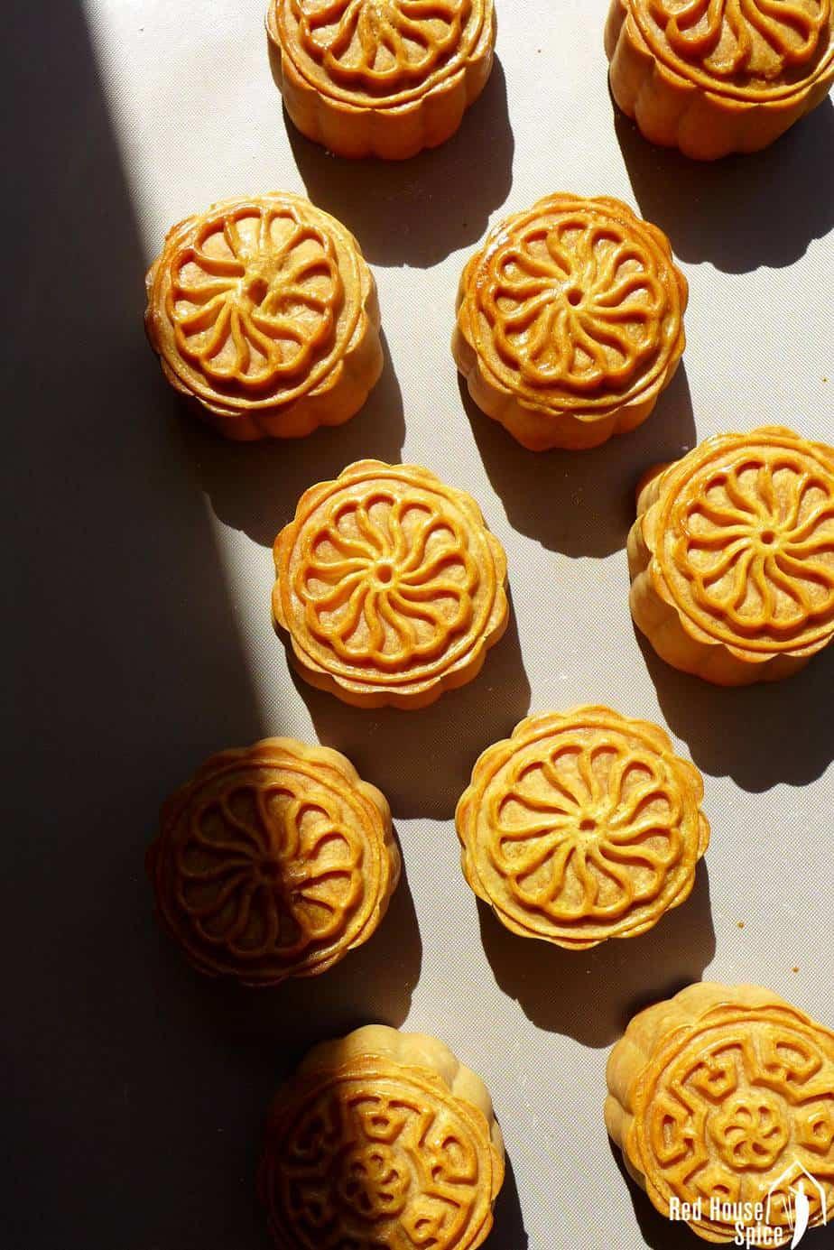 Freshly baked cantonese mooncakes