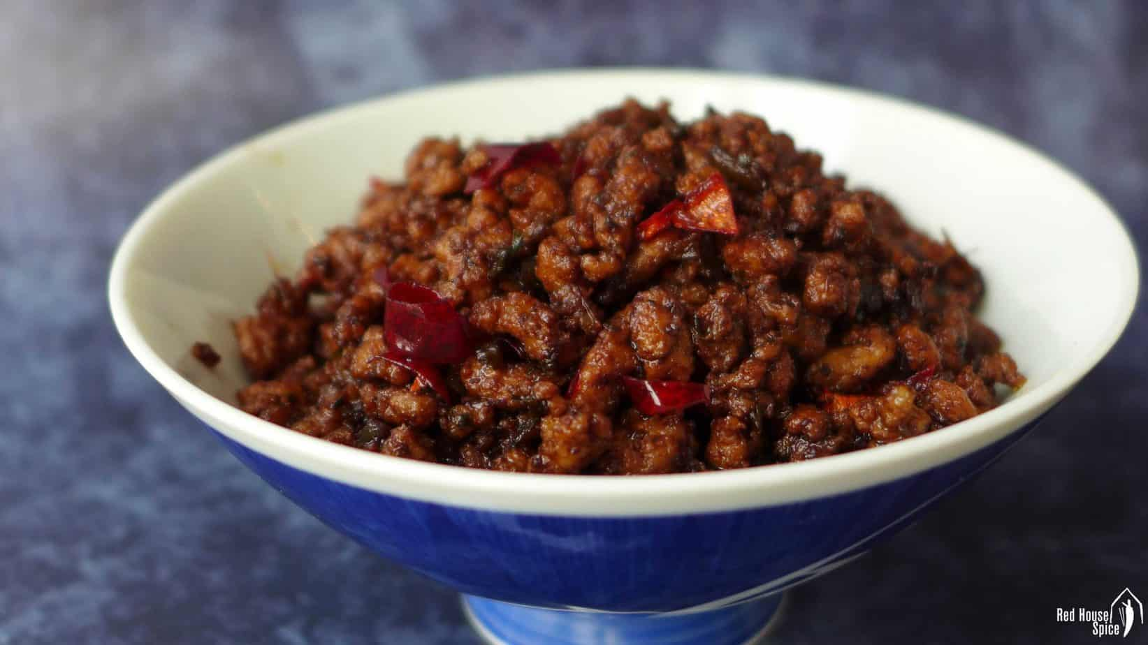 Fried minced meat for Chongqing noodles in a bowl.