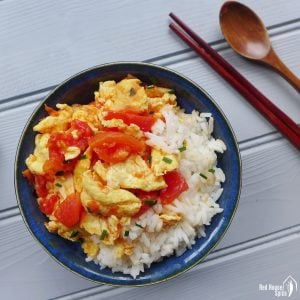 Tomato egg stir-fry with rice