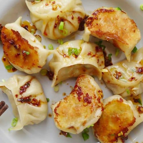 A plate of vegan dumplings