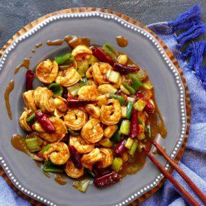 A plate of stir-fried shrimp