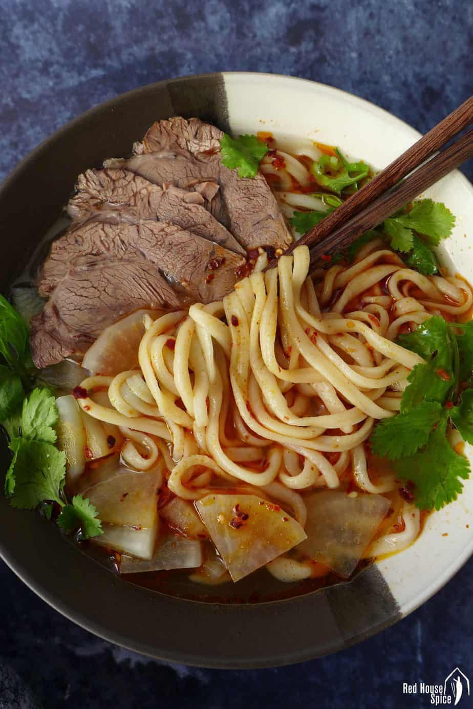 A bowl of homemade Lanzhou beef noodle soup
