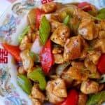 A plate of black pepper chicken stir-fry