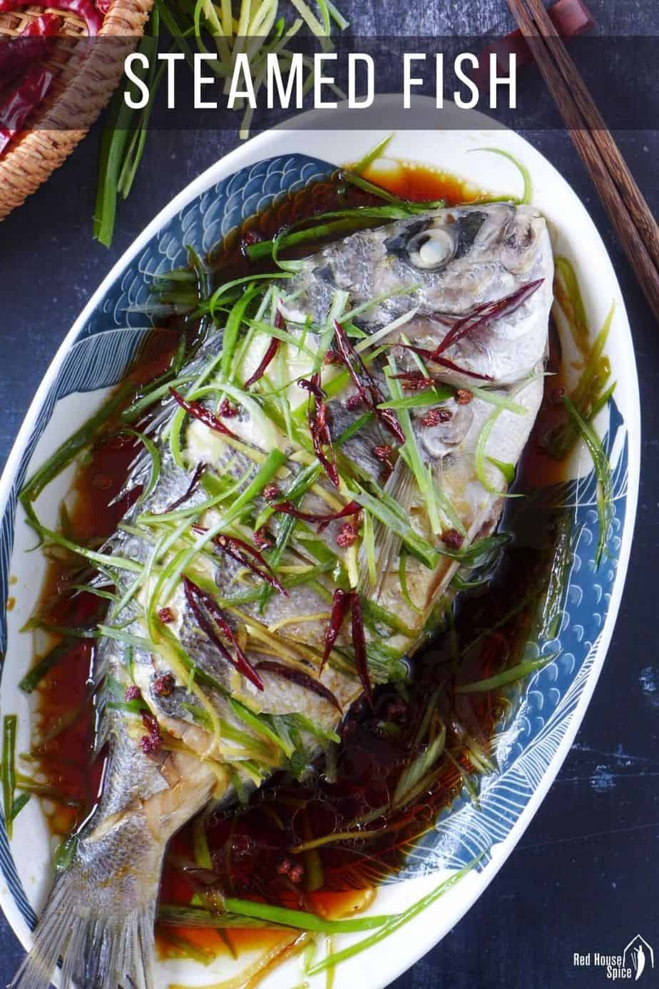 A steamed fish with soy sauce dressing