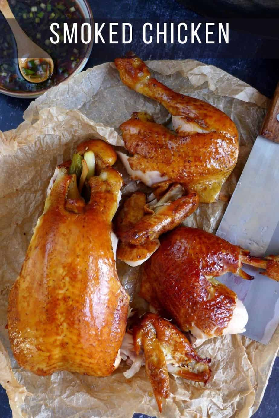 smoked whole chicken in three pieces