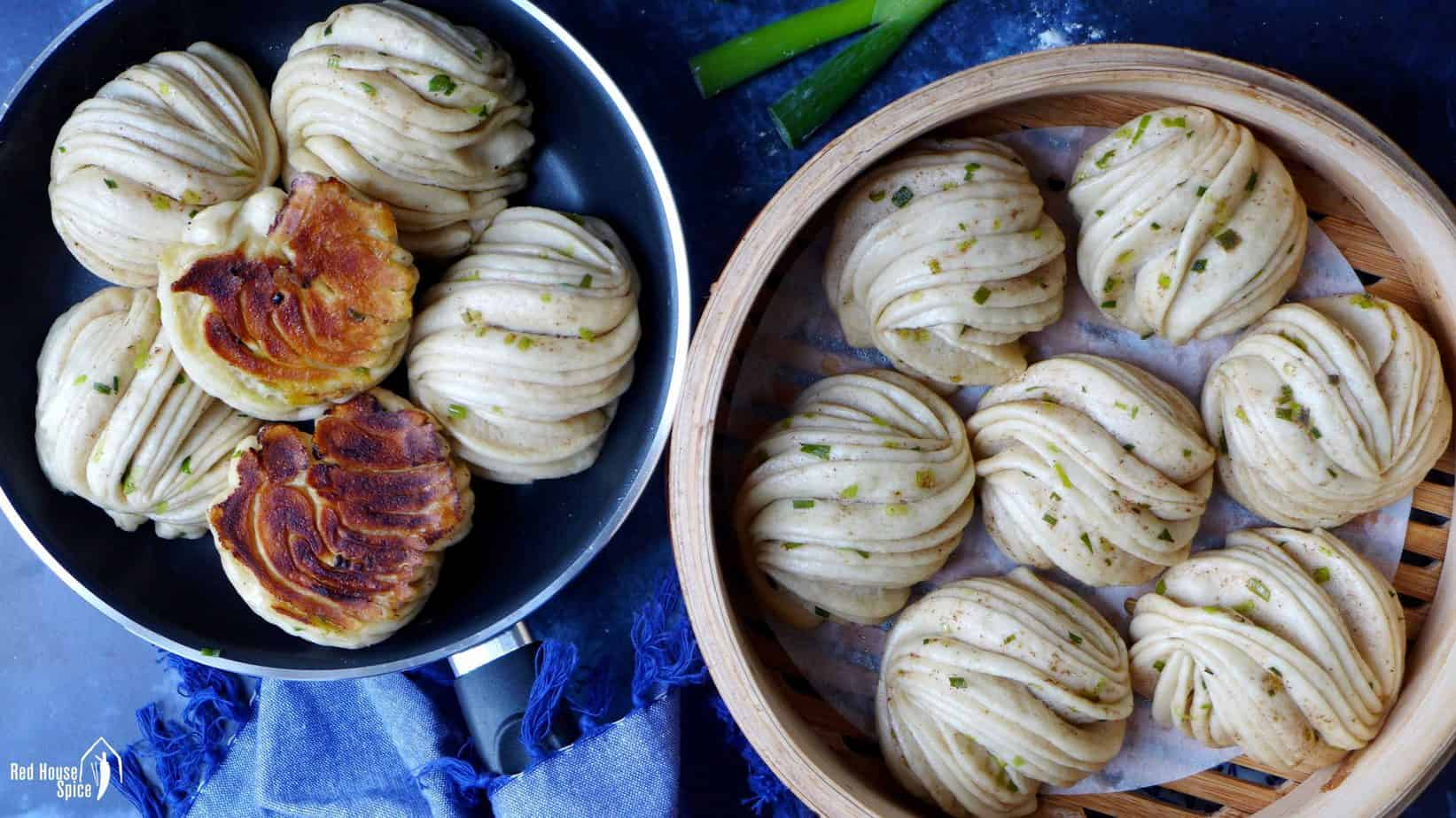 Chinese flower rolls, steamed & pan-fried