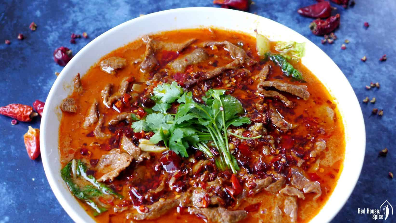 A bowl of Sichuan boiled beef