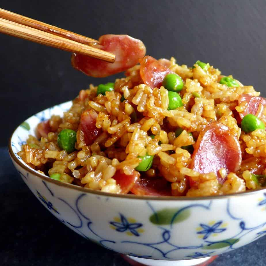 Chinese sausage fried rice recipe card | Red House Spice