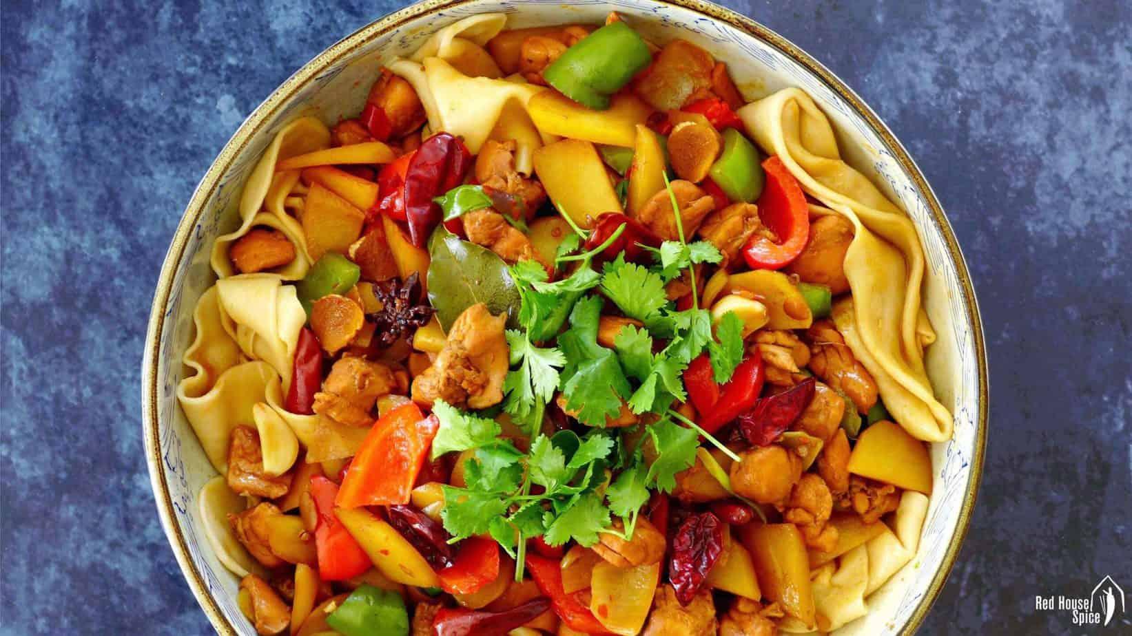 Dan Pan Ji chicken stew served on top of hand-pulled noodles.