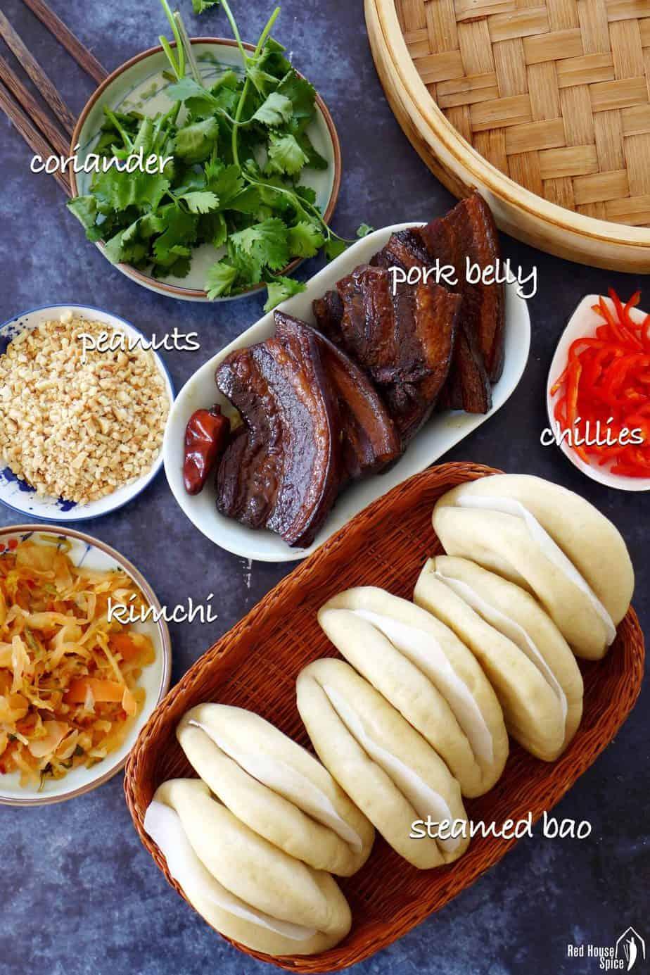 Ingredients for making pork belly buns.