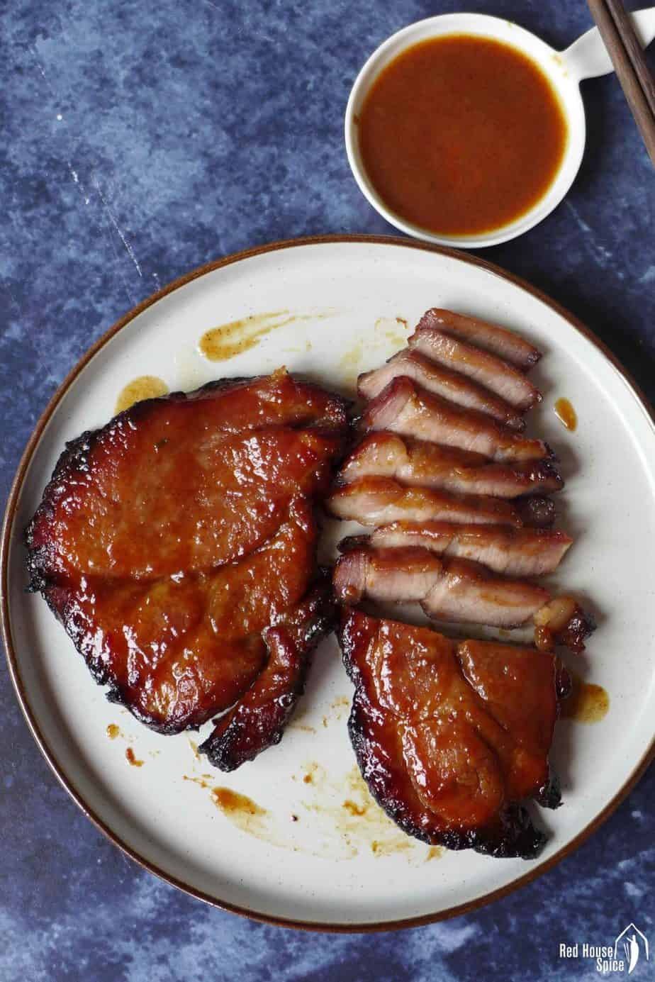 Two pieces of Char Siu, Chinese BBQ pork