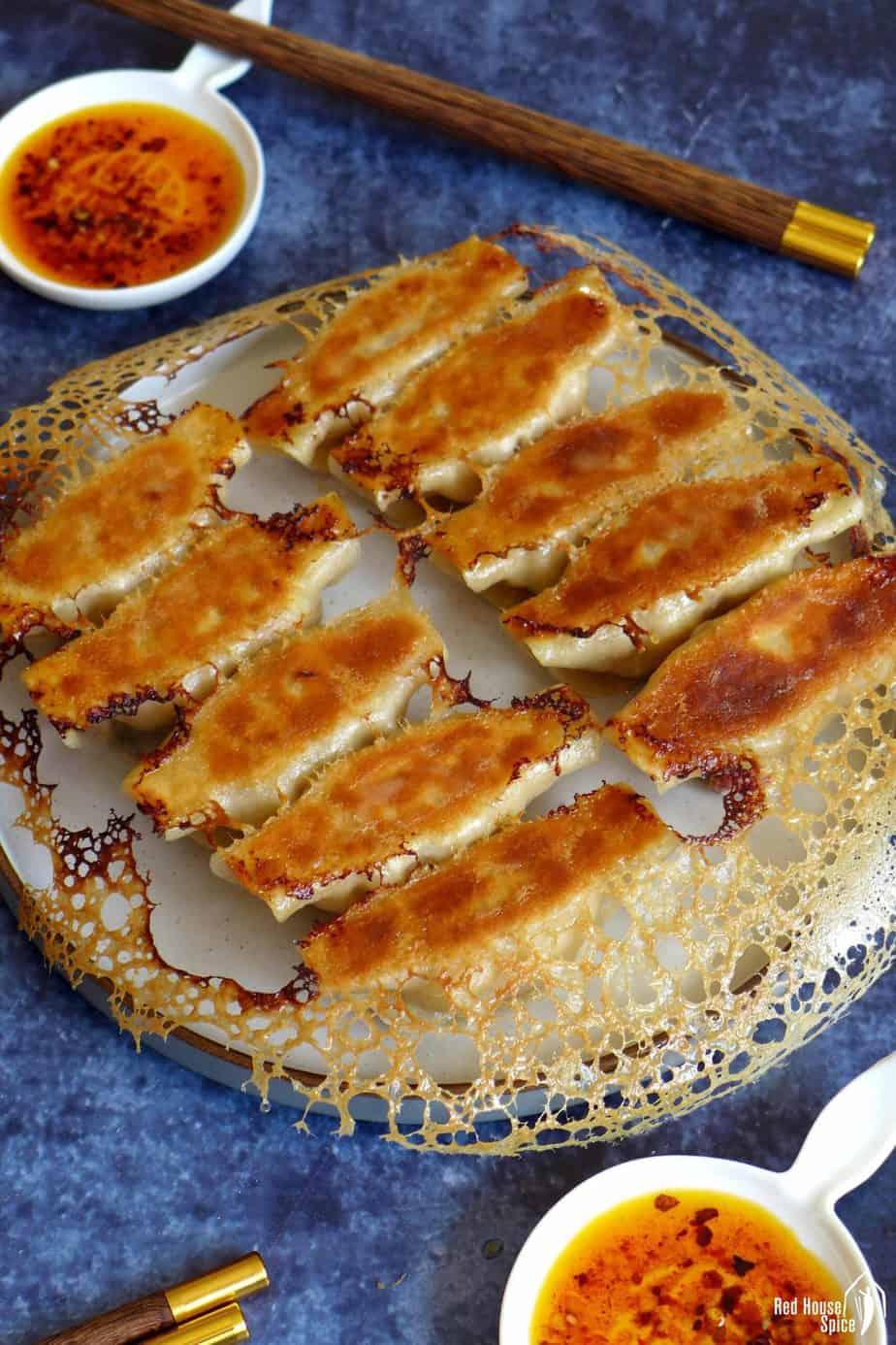 Pan-fried chicken potstickers