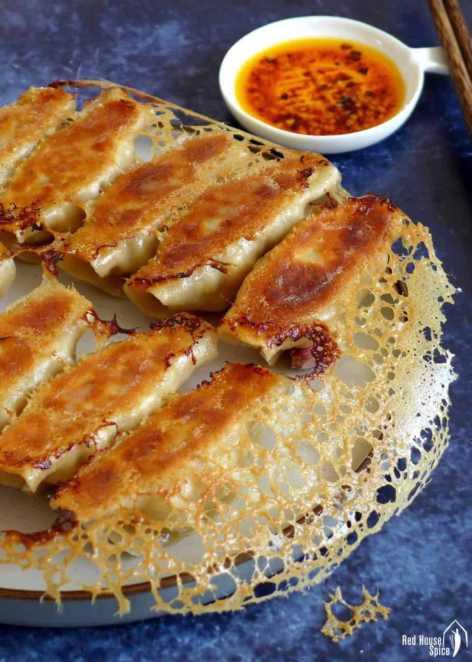 Chicken potstickers with a crispy skirt