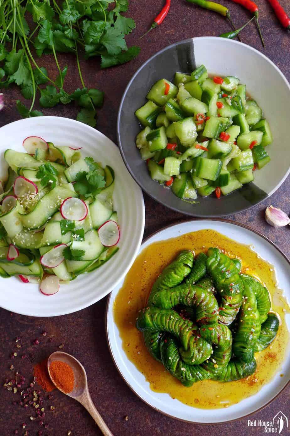 Three plates of Chinese cucumber salad