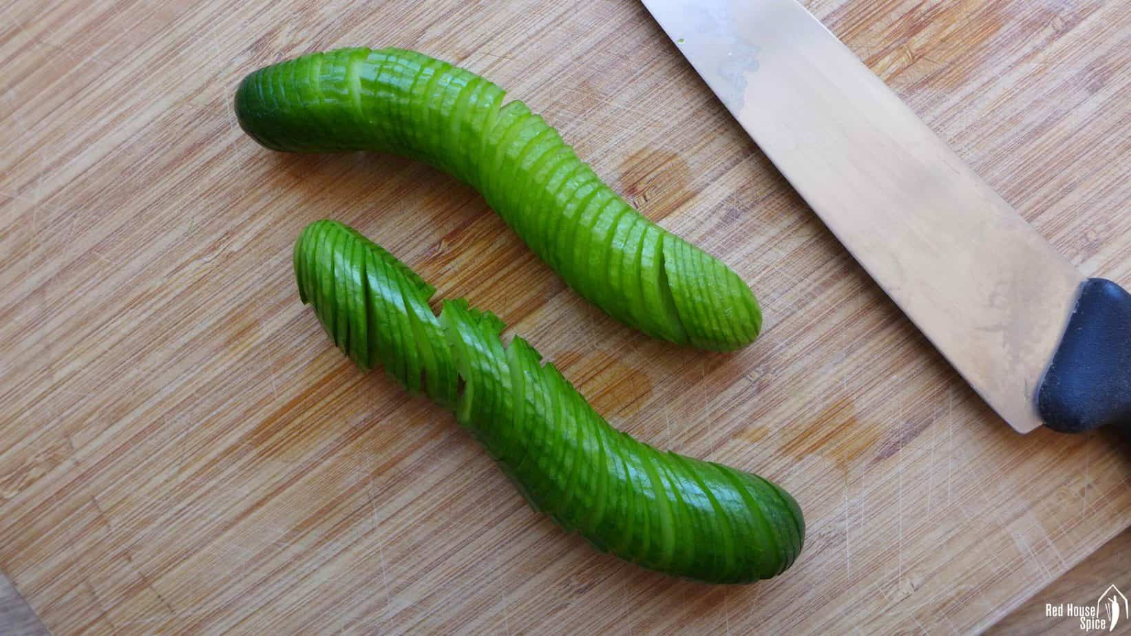 Two cucumbers finely sliced with a knife