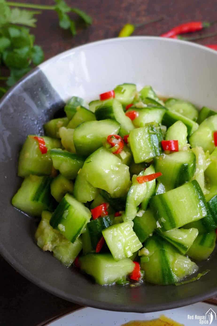 Chinese smashed cucumber salad with garlic dressing