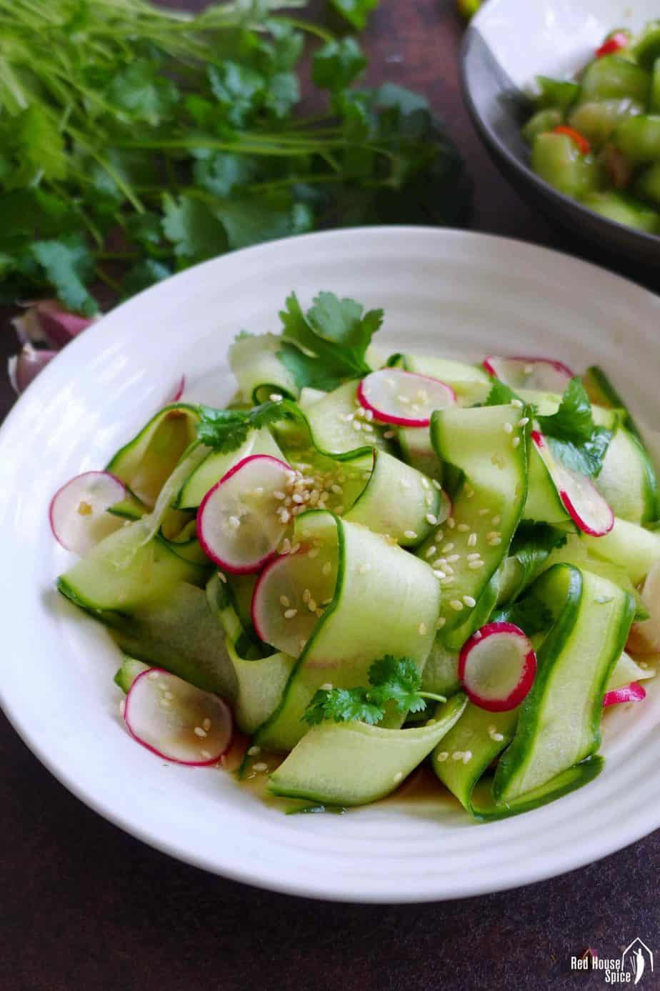 Sliced cucumber with ginger dressing