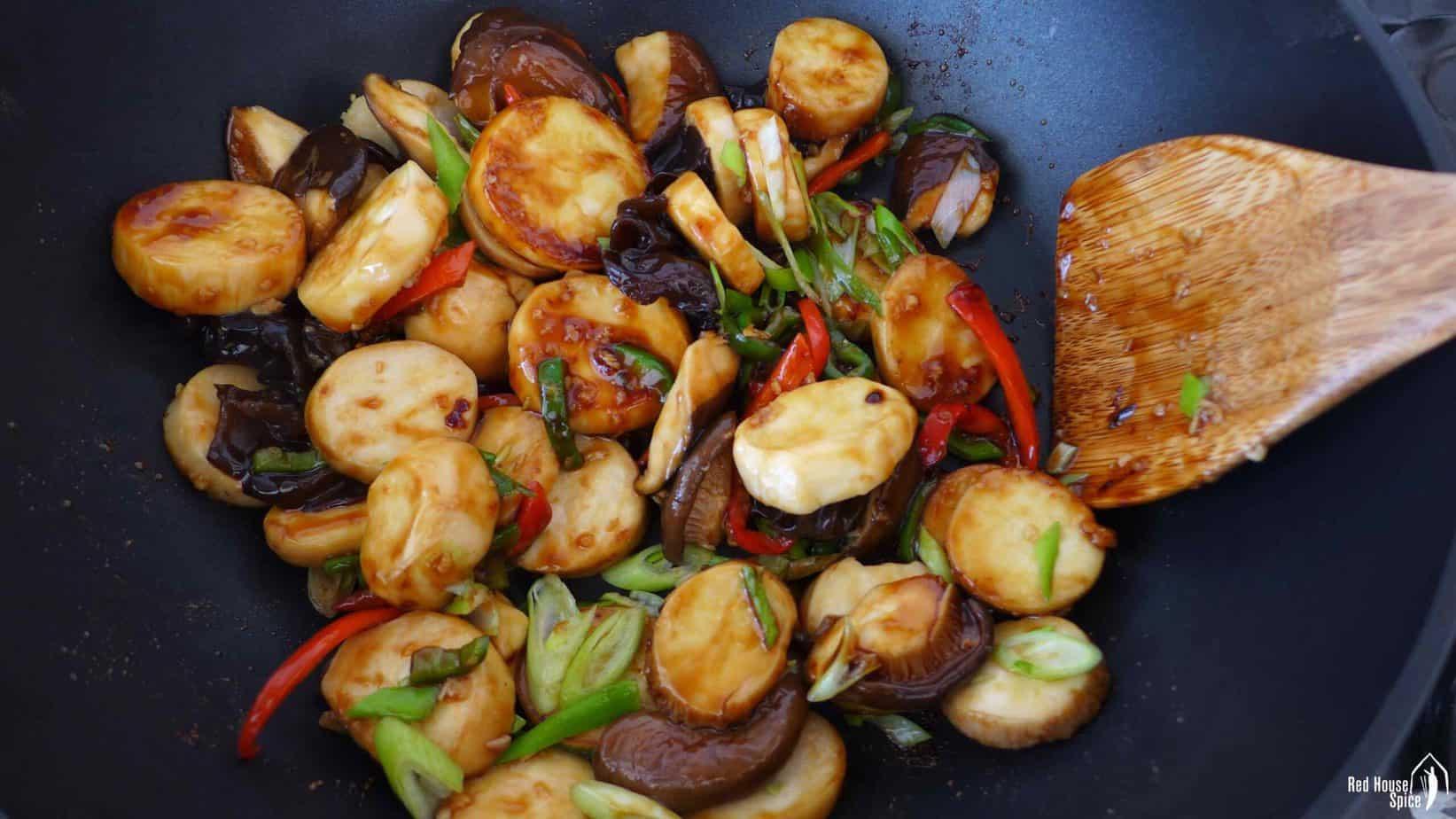 Mushroom fried in a wok