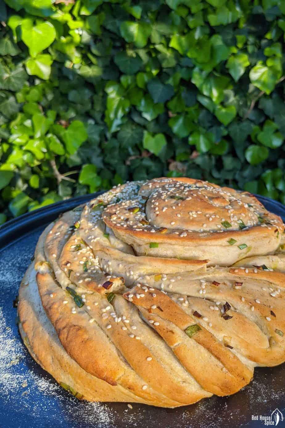 An oven baked scallion bread