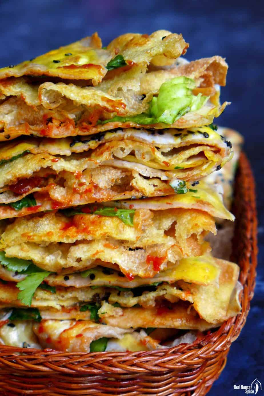 A pile of Jian Bing, Chinese crepes
