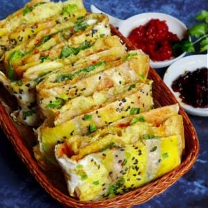 Chinese crepes with some sauces