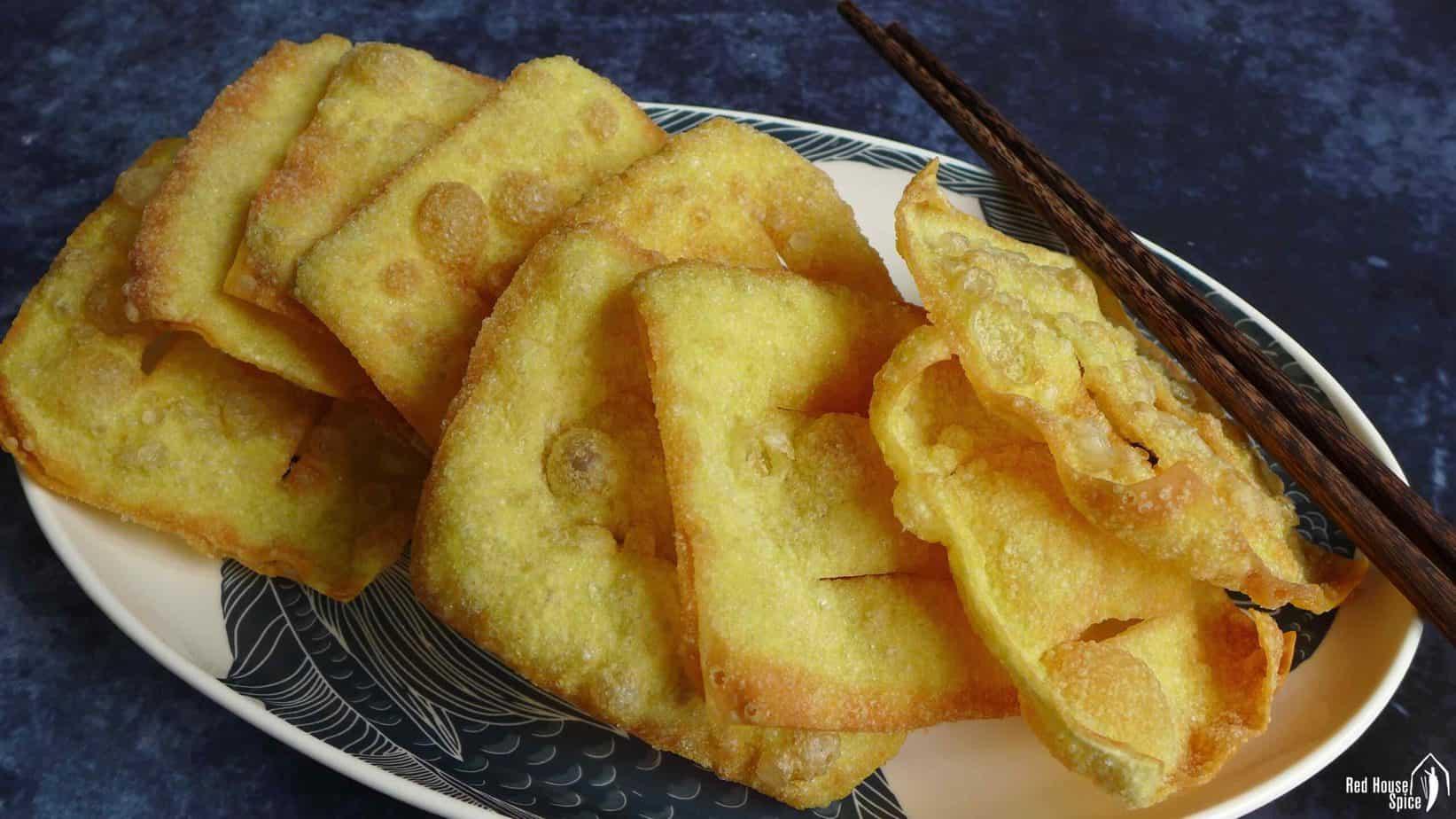 Fried wonton wrappers for Jian Bing