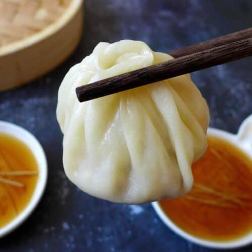 A soup dumpling (Xiao Long Bao)