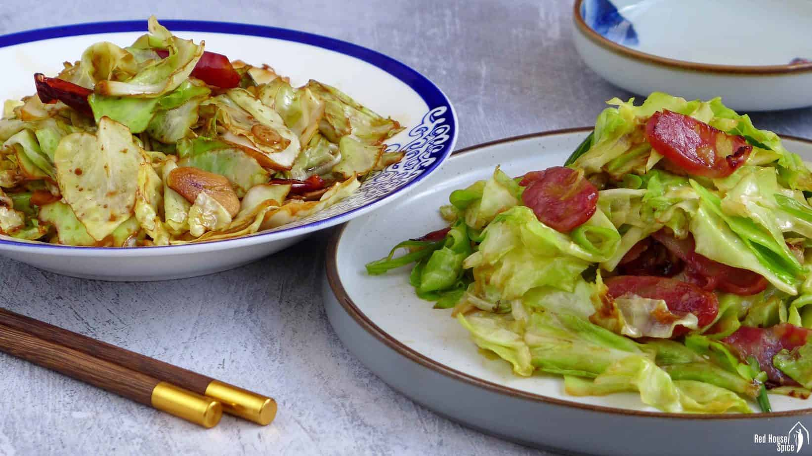 Two plates of stir-fried cabbage