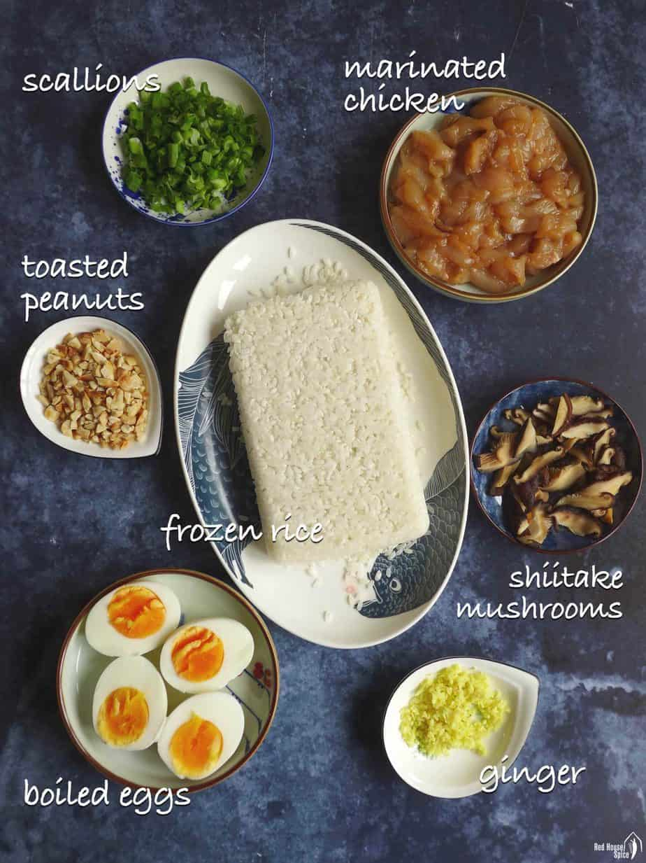Ingredients for making congee with chicken and mushroom