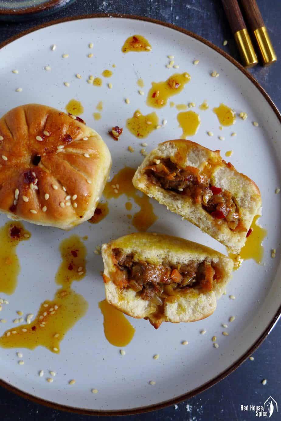 baked bao bun with chilli oil