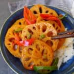 Lotus root stir-fry over rice