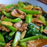 Beef fried with Chinese broccoli in oyster sauce