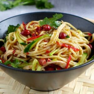 a bowl of Sichuan style cold noodles
