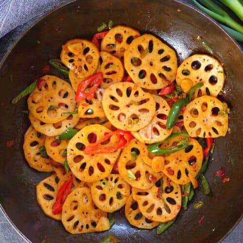 lotus root stir-fry in a wok