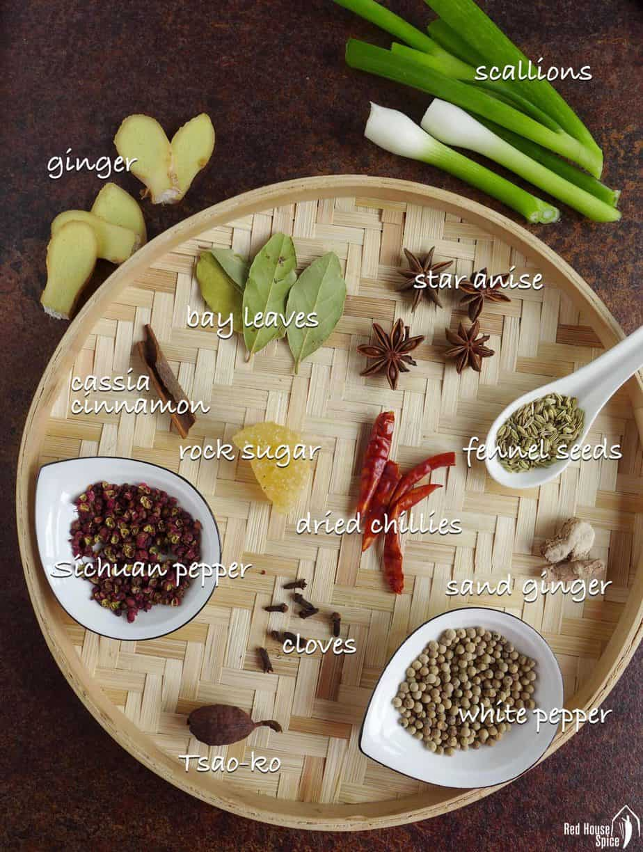 A collection of Chinese spices, scallions and ginger