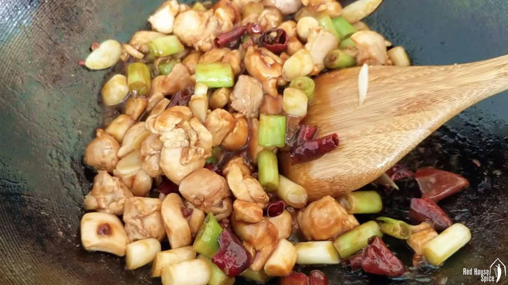 stir-frying in a wok