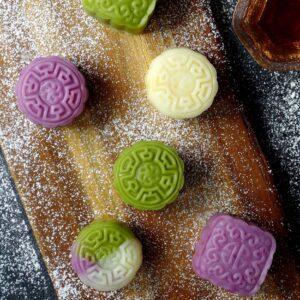 Snow skin mooncakes in three colours