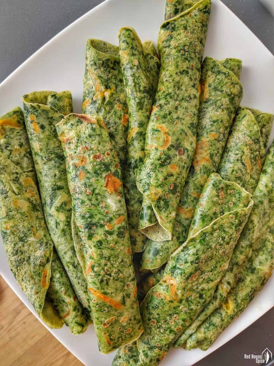 Egg crepes made with coarsely blended spinach.