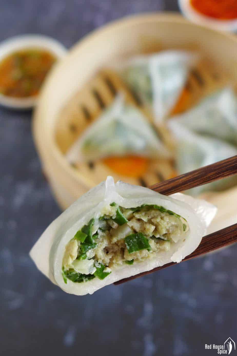 A half eaten crystal dumpling