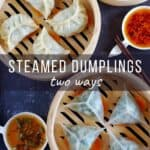 Four regular steamed dumplings, four crystal dumplings and some dipping sauces