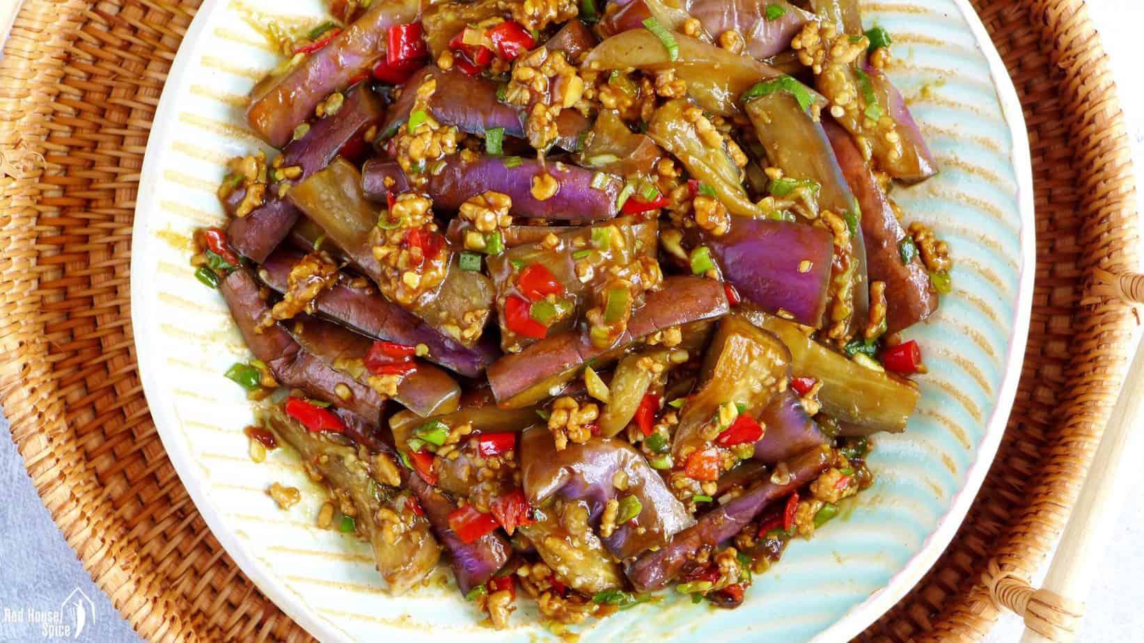 Chinese stir-fried eggplant with garlic sauce