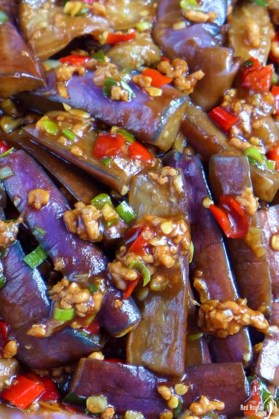 Eggplant pieces covered with minced meat and a thick sauce