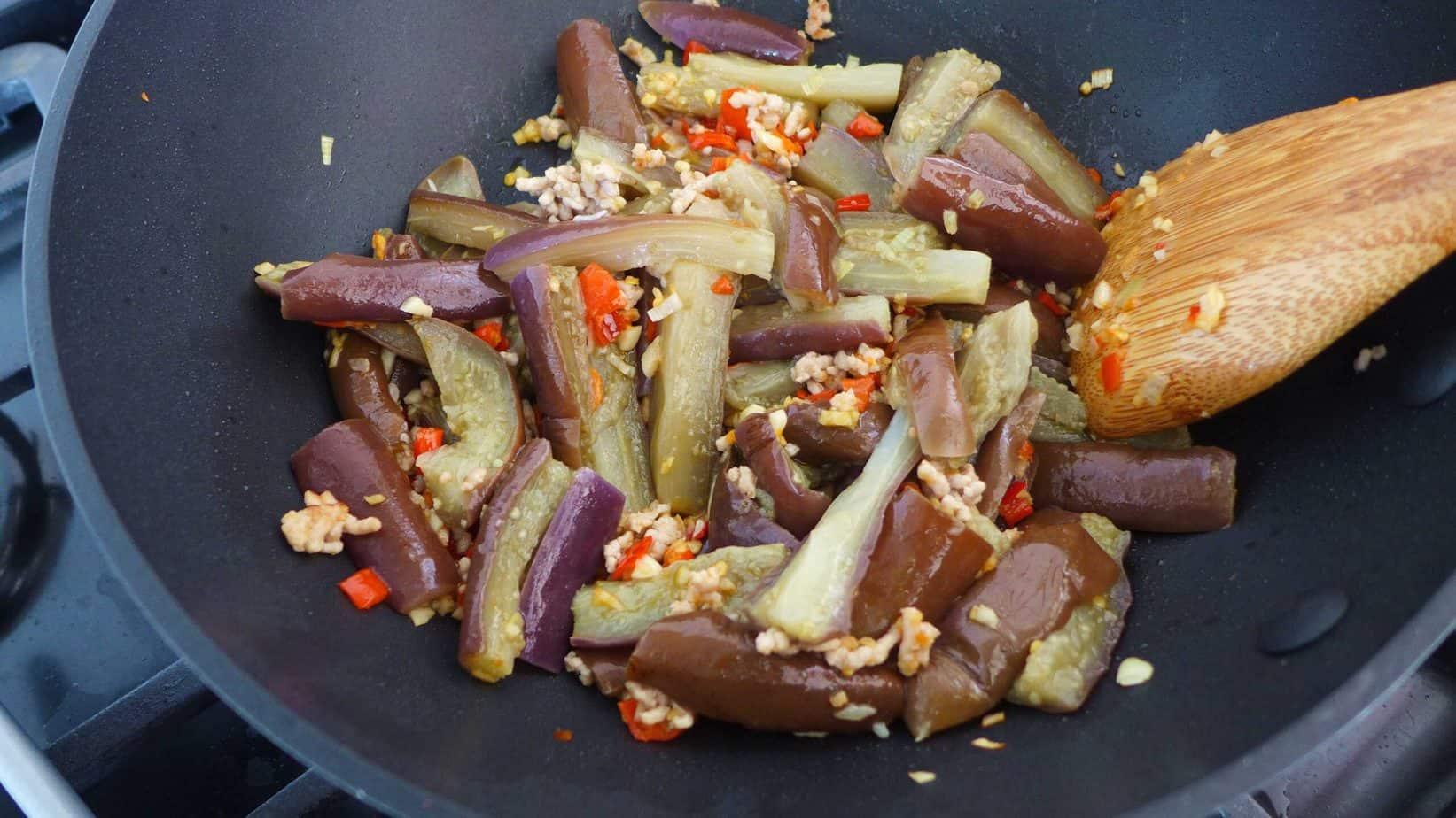 Stir-frying eggplant