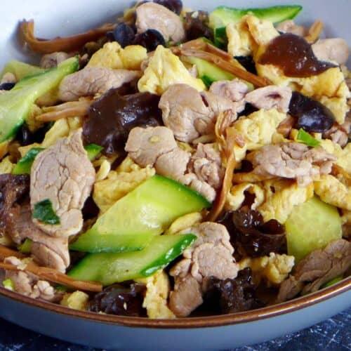 A plate of Moo Shu Pork stir-fry
