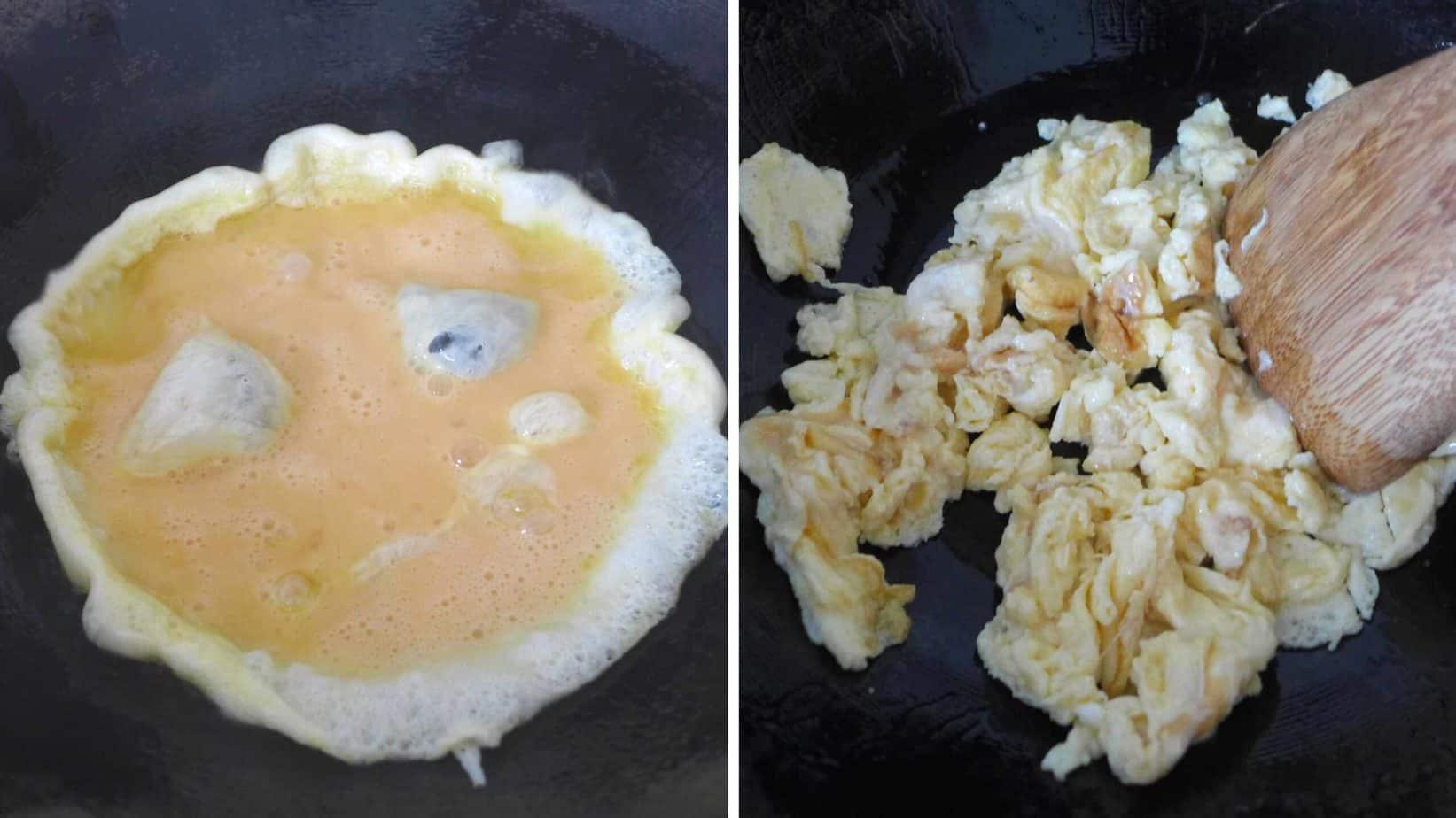 Scramble eggs in oil