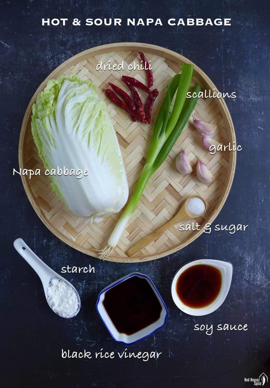 Ingredients for cooking napa cabbage stir-fry