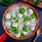A pot of winter melon soup with meatballs & vermicelli noodles